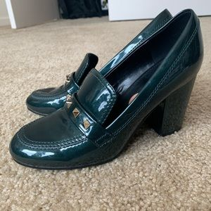 Marc Fisher dark green studded chunky heel loafer